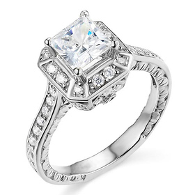 Antique-Style 1-CT Princess-Cut Halo CZ Engagement Ring in Sterling Silver (Rhodium)