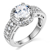 Art Deco Halo 1-CT Round-Cut CZ Engagement Ring in Sterling Silver (Rhodium)