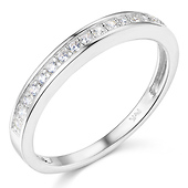 17-Stone Pave Round CZ Cubic Zirconia Wedding Band in Sterling Silver (Rhodium)