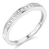 2.6mm Pave Round CZ Wedding Band in Sterling Silver (Rhodium)