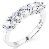 5-Stone Round-Cut CZ Wedding Band Ring in Sterling Silver (Rhodium) 1.1ctw