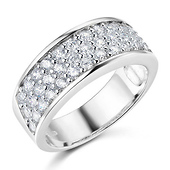 3-Row Pave Round-Cut Cubic Zirconia Wedding Band in Sterling Silver (Rhodium)
