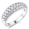 Domed Pave Round-Cut Cubic Zirconia Wedding Band Ring - Sterling Silver