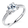 Basket-Set Round-Cut CZ Engagement Ring in Sterling Silver