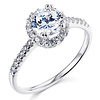 Halo 1-CT Round-Cut CZ Engagement Ring & Side Stones in Sterling Silver (Rhodium)