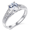 Split Shank Knife-Edge 1-CT Round CZ Engagement Ring in Sterling Silver (Rhodium)