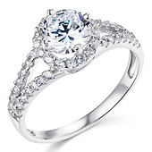 Split Shank Halo 1-CT Round CZ Engagement Ring in Sterling Silver (Rhodium)