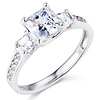 Three-Stone Trellis Princess CZ Engagement Ring in Sterling Silver (Rhodium)