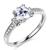 Basket-Style 1-CT Round-Cut CZ Engagement Ring in 14K White Gold