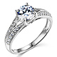 Split Shank Cathedral Knife-Edge 1-CT Round-Cut CZ Engagement Ring in 14K White Gold thumb 0