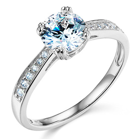 1-CT Basket Cathedral Round-Cut & Pave CZ Engagement Ring in 14K White Gold