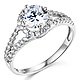 Split Shank Halo 1-CT Round Cubic Zirconia Engagement Ring in 14K White Gold thumb 0
