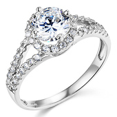 Split Shank Halo 1-CT Round Cubic Zirconia Engagement Ring in 14K White Gold