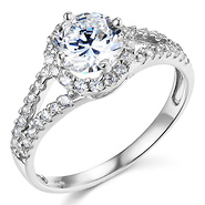 Split Shank Halo 1 CT Round Cubic Zirconia Engagement Ring In 14K White Gold