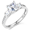3-Stone Princess-Cut CZ Engagement Ring with Side Stones in 14K White Gold