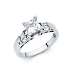 14K White Gold Baguette & Solitaire Princess Cut CZ Engagement Ring