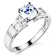 1-CT Round & Side Princess Baguette CZ Engagement Ring in 14K White Gold thumb 0