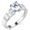 1-CT Round & Side Princess Baguette CZ Engagement Ring in 14K White Gold