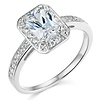 14K White Gold Halo Emerald Cut CZ Engagement Ring