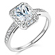 Halo 1-CT Radiant-Cut CZ Engagement Ring with Side Pave in 14K White Gold thumb 0