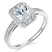 Halo 1-CT Radiant-Cut CZ Engagement Ring with Side Pave in 14K White Gold