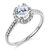 Halo Round-Cut CZ Engagement Ring with Side Stones in 14K White Gold