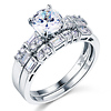 Round & Baguette-Cut CZ Engagement Ring Set in 14K White Gold