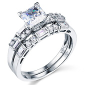 1-CT Princess & Side Baguette CZ Wedding Ring Set in 14K White Gold