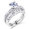 1-CT Round & Side Baguette CZ Engagement Ring Set in 14K White Gold