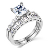 Princess & Baguette CZ Wedding Ring Set in 14K White Gold