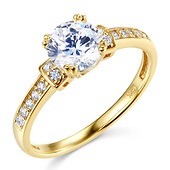 14K Yellow Gold Round-Cut CZ Engagement Ring & Pave Side Stones