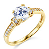 1-CT Round-Cut CZ Engagement Ring & Pave Side Stones in 14K Yellow Gold