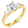 3-Stone Princess-Cut CZ Engagement Ring with Side Stones in 14K Yellow Gold