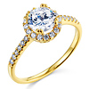 Round cut with Side Stone 14K Yellow Gold CZ Wedding Engagement Ring