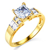 Wide 1-CT Princess-Cut & Baguette CZ Engagement Ring in 14K Yellow Gold