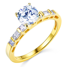 1-CT Round-Cut & Side Baguette CZ Engagement Ring in 14K Yellow Gold