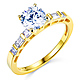 1-CT Round-Cut & Side Baguette CZ Engagement Ring in 14K Yellow Gold thumb 0