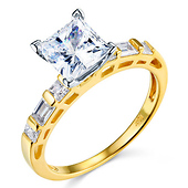 14K Yellow Gold Baguette Side & Princess-Cut CZ Engagement Ring