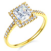 1-CT Princess-Cut & Round Side Halo CZ Engagement Ring in 14K Yellow Gold