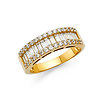 14K Yellow Gold Baguette & Round-cut CZ Cubic Zirconia Ladies Wedding Ring Band
