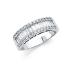 14K White Gold Baguette & Round-cut CZ Cubic Zirconia Ladies Wedding Ring Band