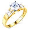 1-CT Round & Side Princess Baguette CZ Engagement Ring in 14K Yellow Gold