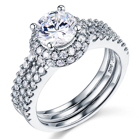 Split Shank Halo Round-Cut CZ Engagement Ring Set in 14K White Gold