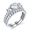 Tulip-Set Three-Stone Round-Cut CZ Wedding Ring Set in 14K White Gold