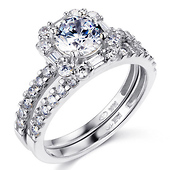 14K White Gold Baguette Halo Round-Cut CZ Wedding Ring Set