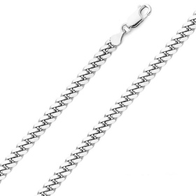 4.2mm Rhodium-Plated Sterling Silver Miami Cuban Link Chain Necklace 20-28in