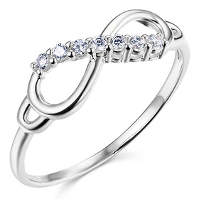 Sparkling CZ Infinity Ring in 14K White Gold