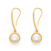 Twisting Rope Knot Pearl Drop Earrings for Women in 14K Yellow Gold
