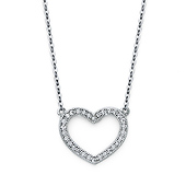 14K White Gold CZ Open Heart Pendant Necklace