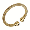 9mm Mesh Yellow Gold Over Sterling Silver Cuff Bangle Bracelet